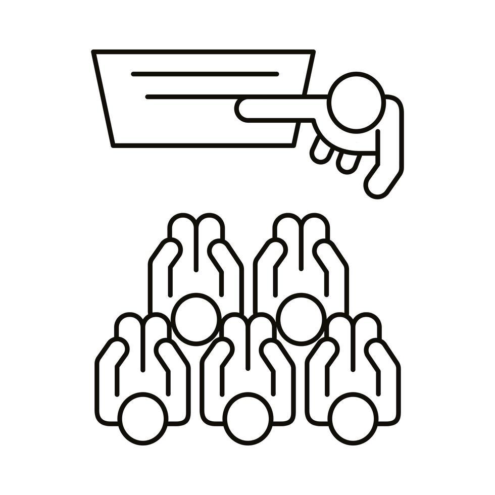 groupe de travailleurs formés avec un style de ligne en carton vecteur