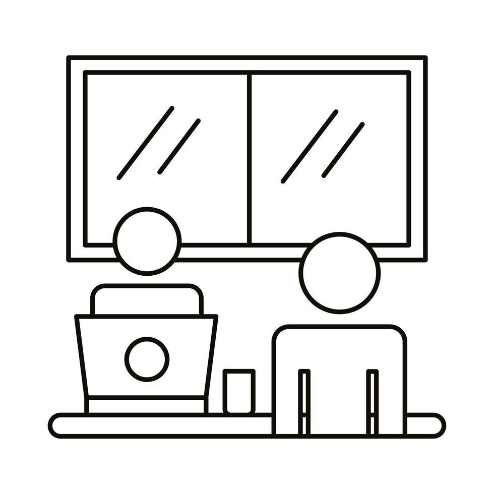 couple avatar travaillant sur l & # 39; icône de style de ligne ordinateur portable vecteur