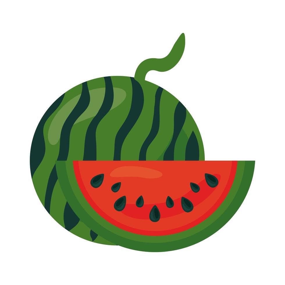 icône de nourriture saine fruits pastèque fraîche vecteur