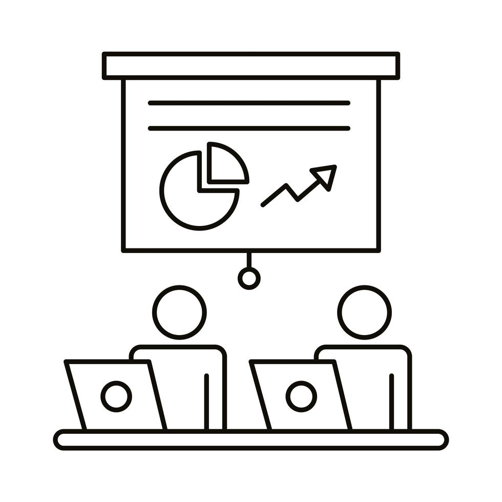 couple avatar travaillant sur les ordinateurs portables et le style de ligne de statistiques vecteur