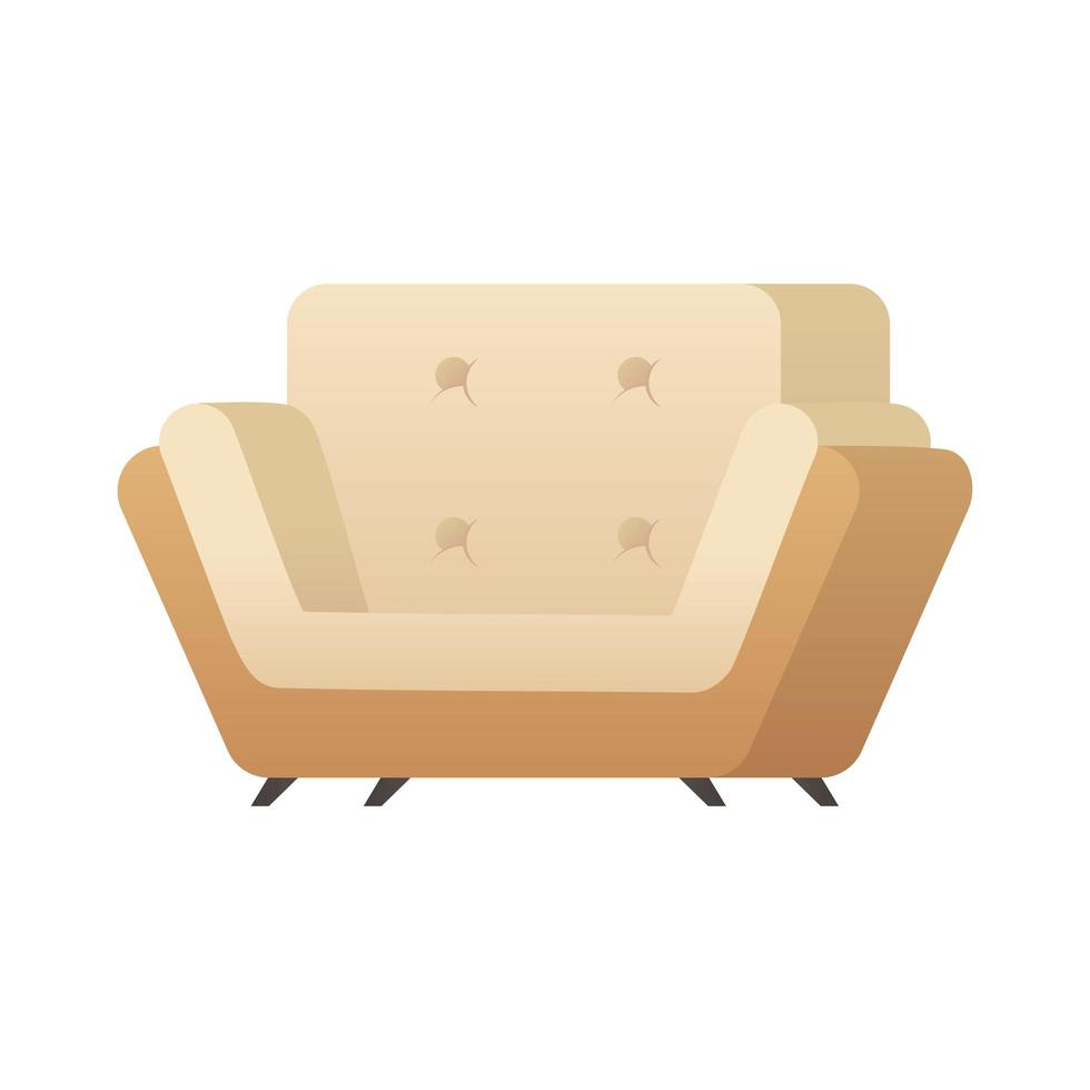 illustration vectorielle de canapé blanc isolé icône vecteur