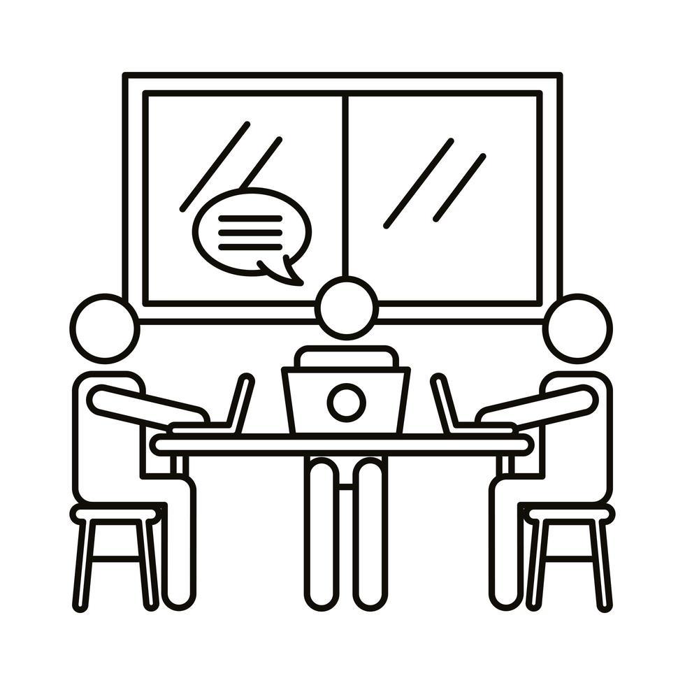 trois travailleurs avec des ordinateurs portables et icône de style de ligne bulle discours vecteur