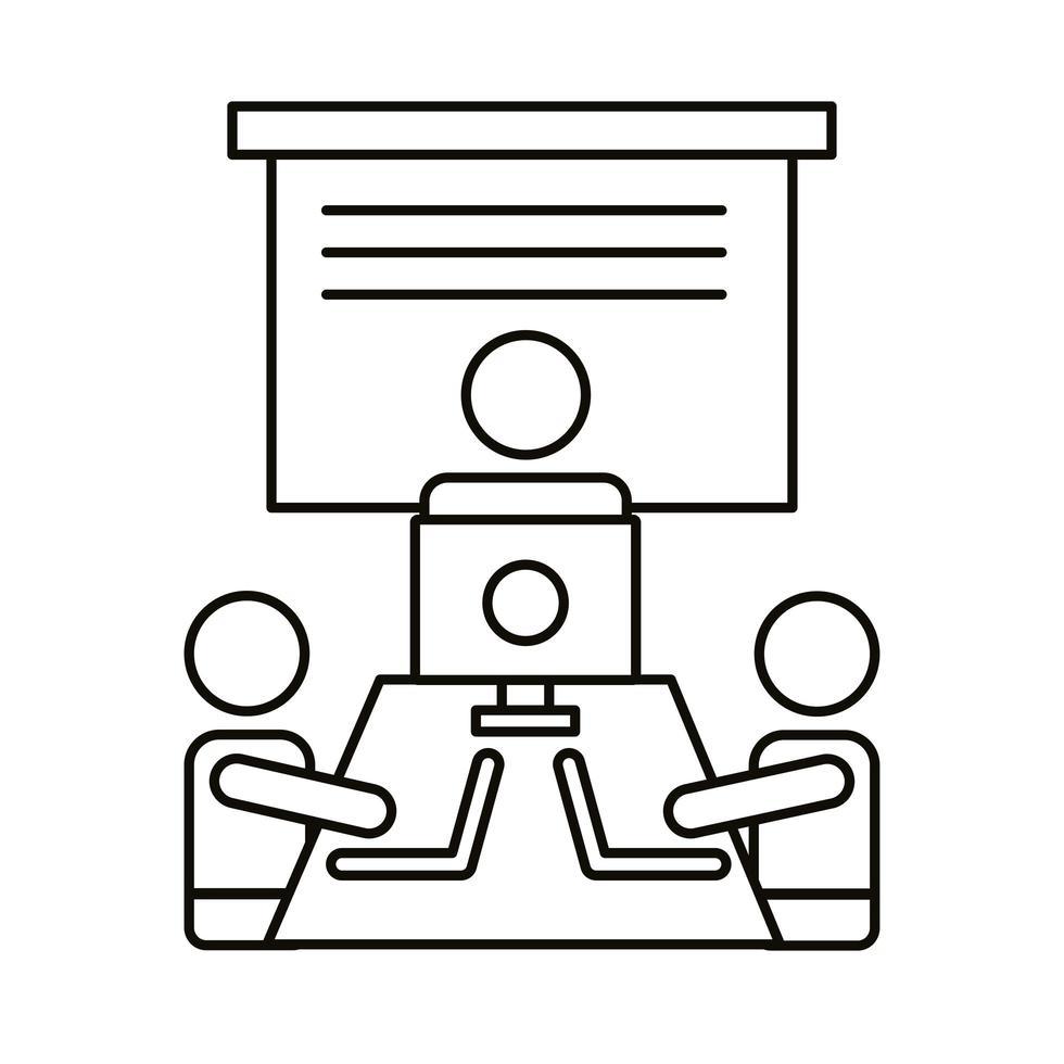 trois travailleurs avec des ordinateurs portables et une icône de style de ligne de bureau vecteur