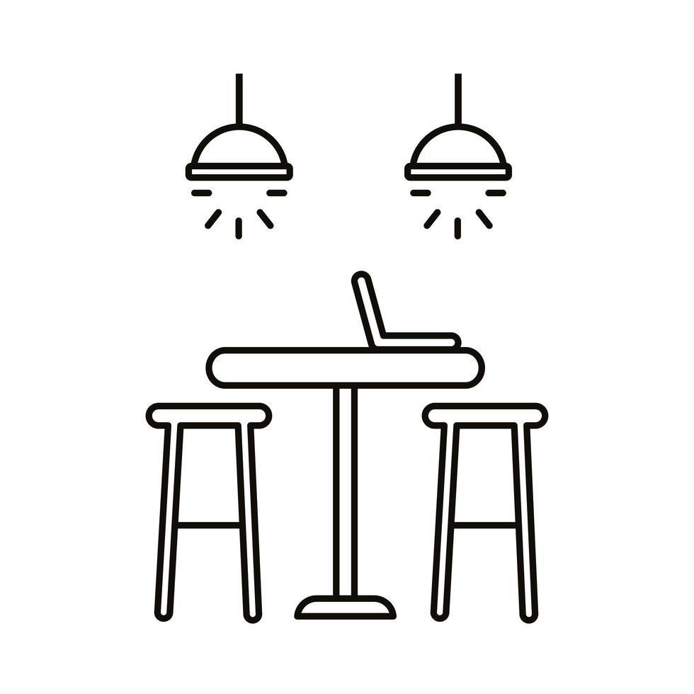 travail de coworking avec icône de style de ligne table et ordinateur portable vecteur
