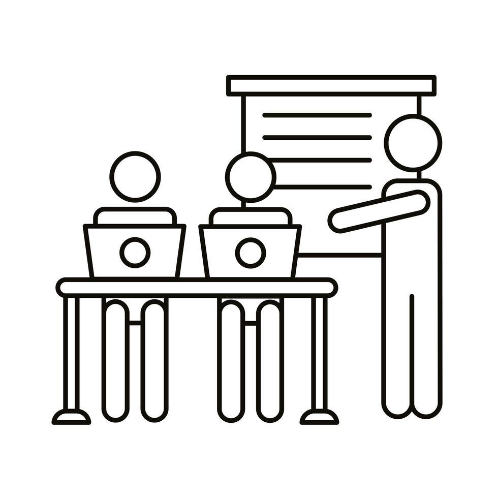 trois travailleurs avec des ordinateurs portables dans l & # 39; icône de style de ligne de bureau vecteur
