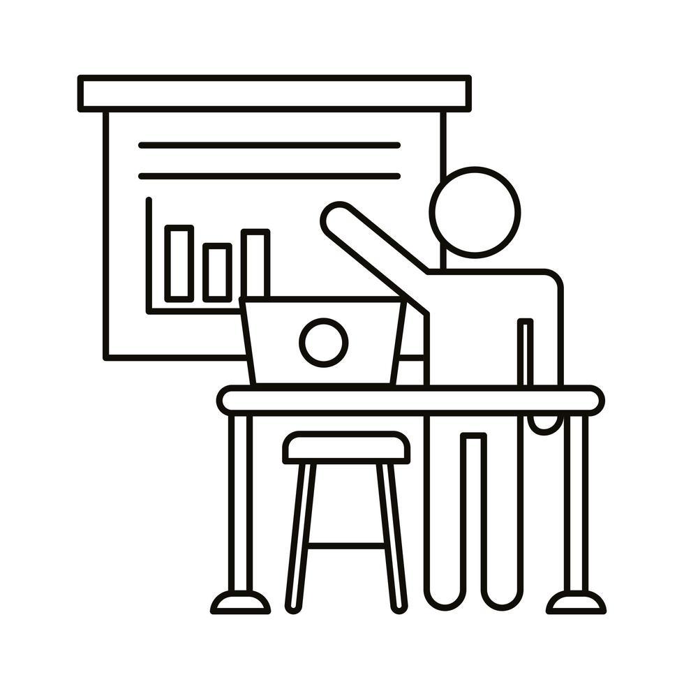 avatar utilisateur travaillant sur ordinateur portable avec icône de style de ligne de statistiques vecteur