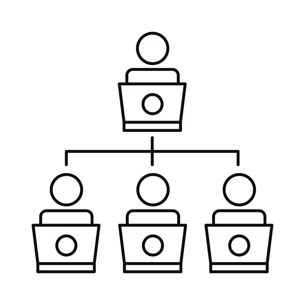 icône de style de ligne de coworking réseau quatre travailleurs vecteur