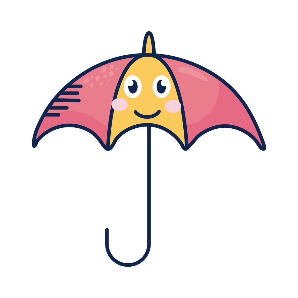 personnage de bande dessinée parapluie kawaii vecteur