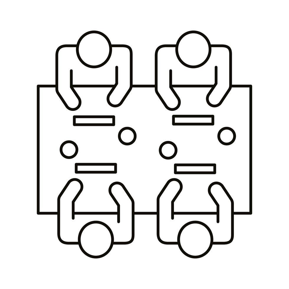 quatre travailleurs assis à l & # 39; icône de style de ligne de table de coworking vecteur