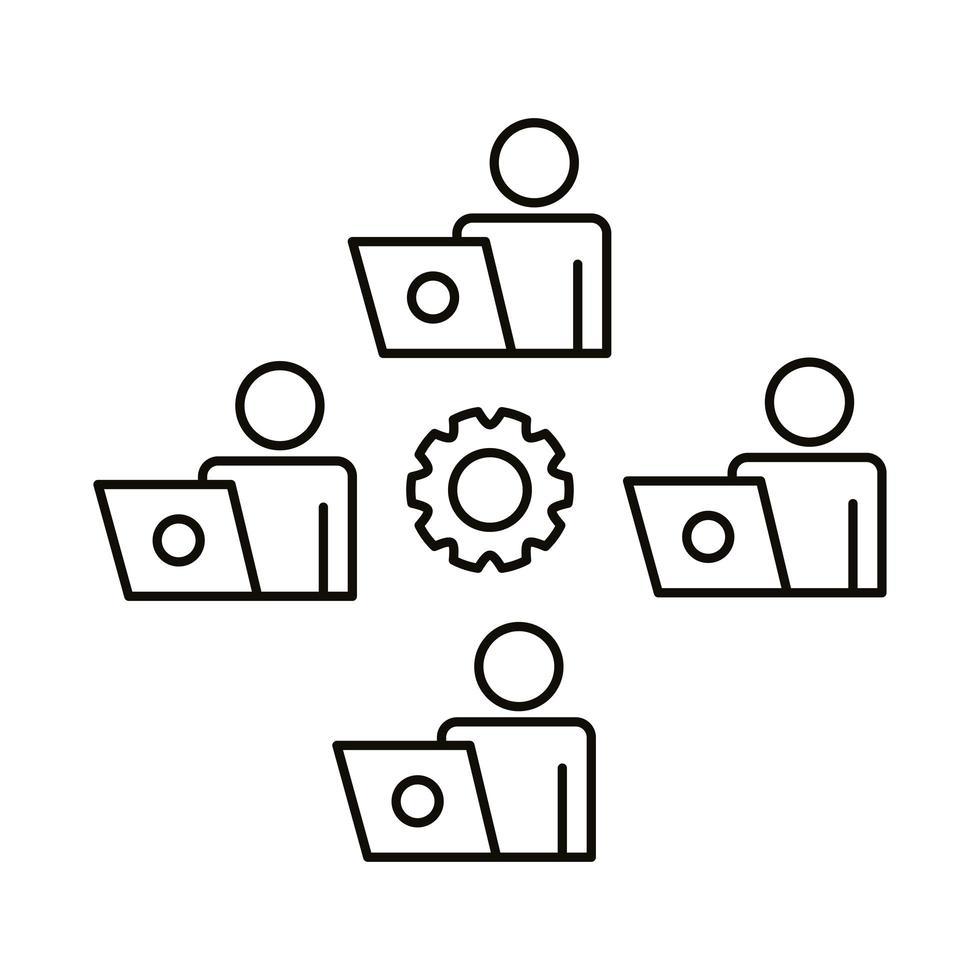 quatre travailleurs avec des ordinateurs portables et une icône de style de ligne d & # 39; engrenage vecteur