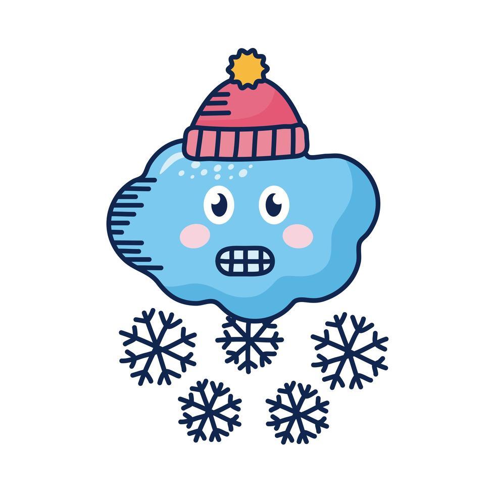 nuage kawaii avec flocons de neige et chapeau d'hiver vecteur