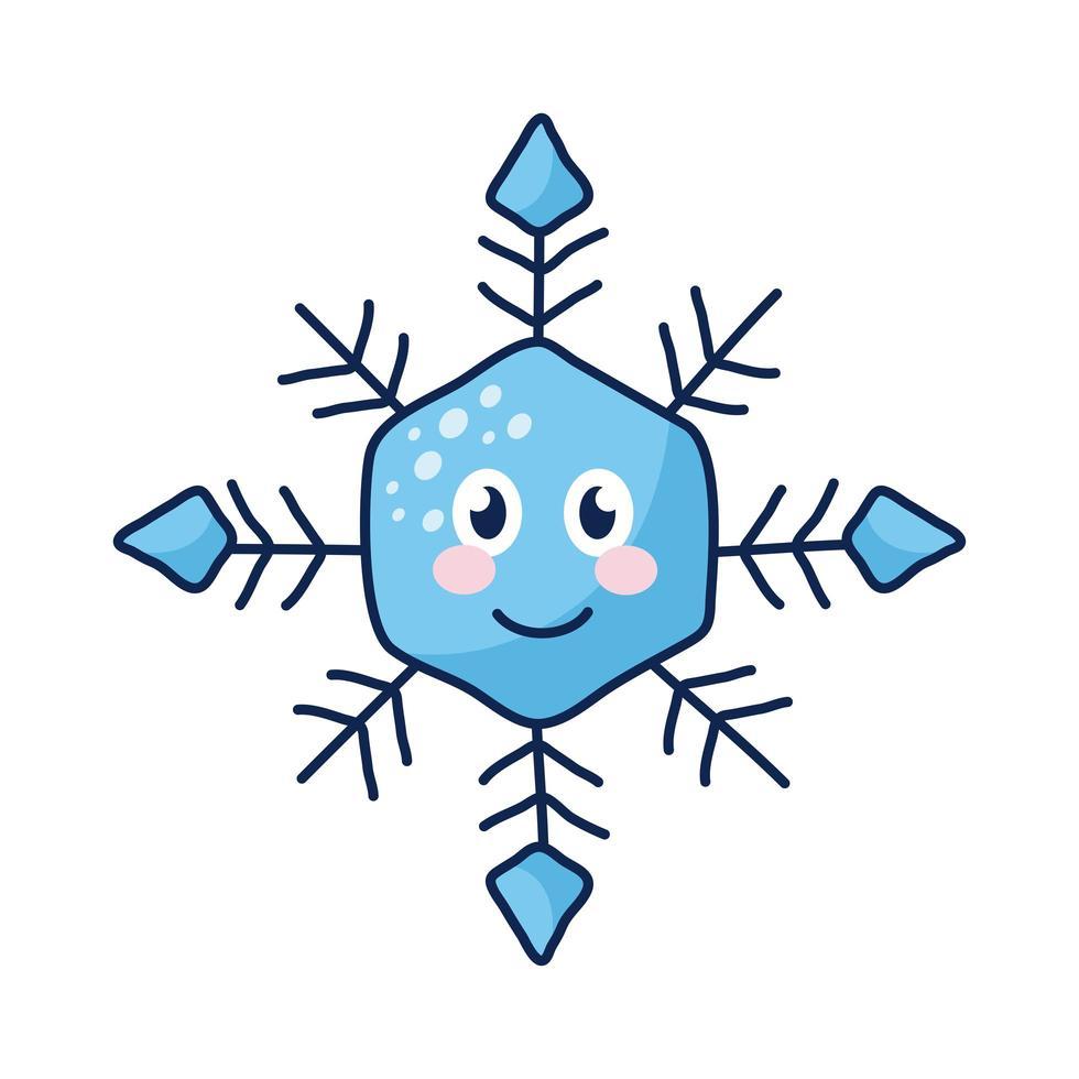 personnage de bande dessinée de flocon de neige kawaii vecteur