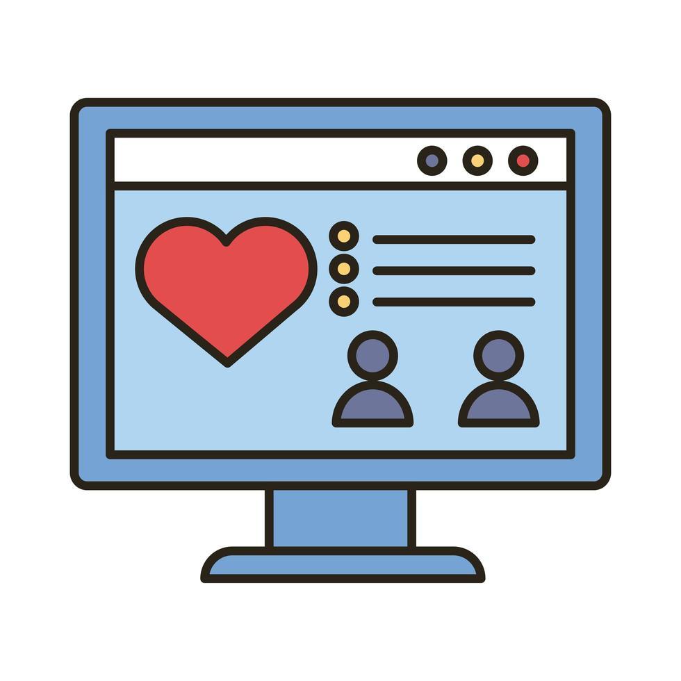 bureau avec ligne d'amour coeur et icône de style de remplissage vecteur