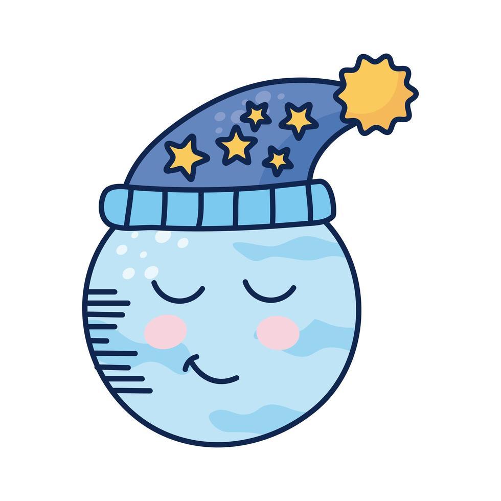 kawaii pleine lune portant un chapeau de couchage vecteur