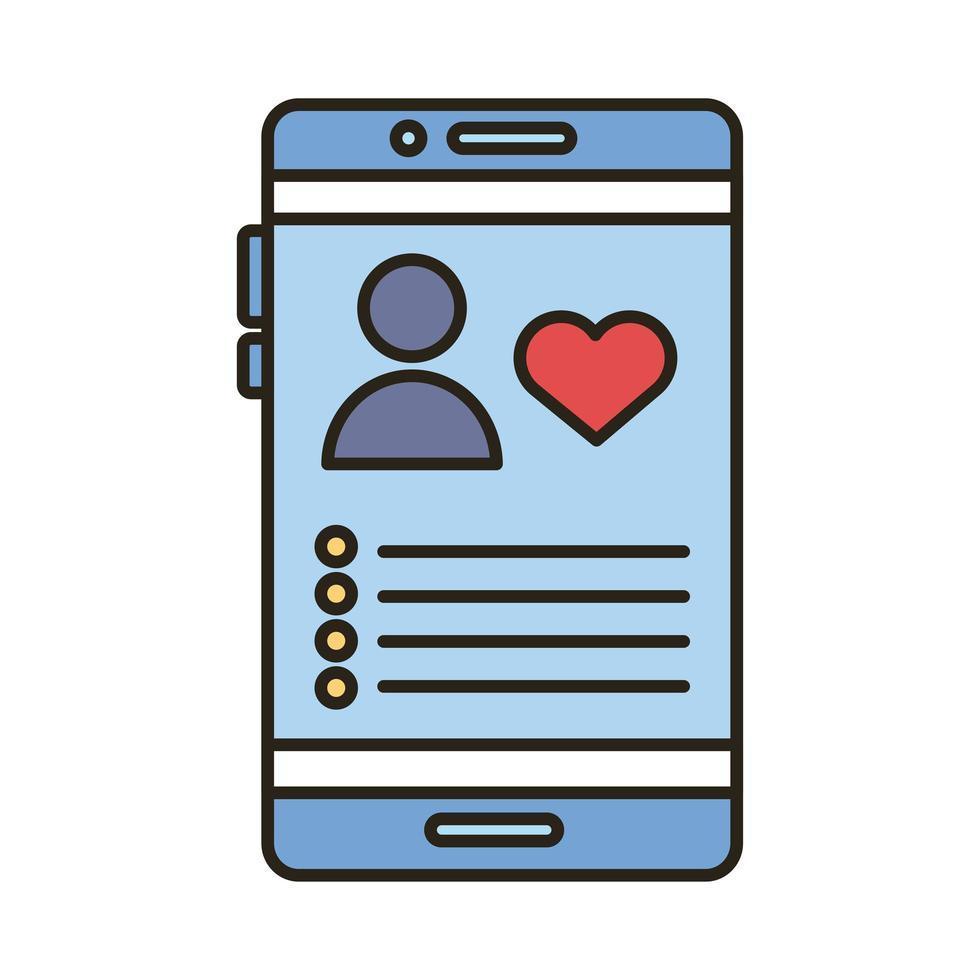 avatar de profil avec coeur en ligne de smartphone et icône de style de remplissage vecteur