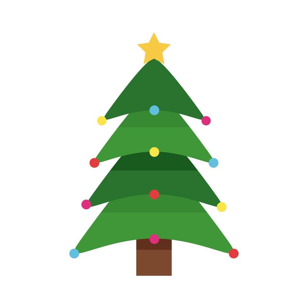 joyeux joyeux noël arbre vert avec étoile et boules vecteur