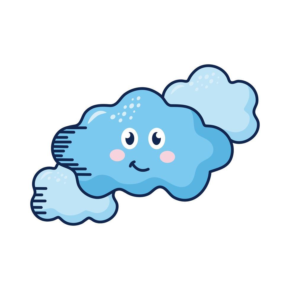 personnages de bandes dessinées de nuages kawaii vecteur