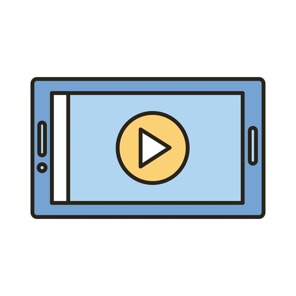 smartphone avec ligne de bouton de lecture et icône de style de remplissage vecteur