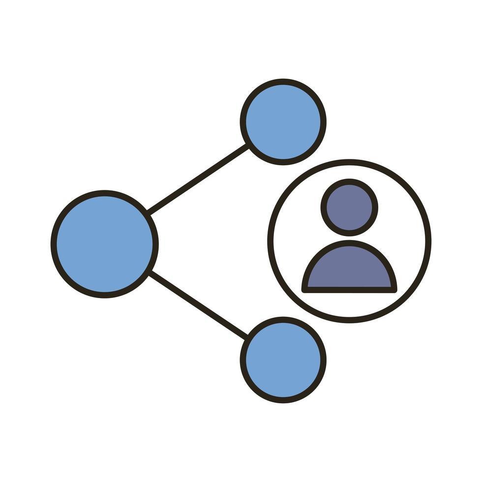 avatar de profil avec ligne de symbole de partage et icône de style de remplissage vecteur