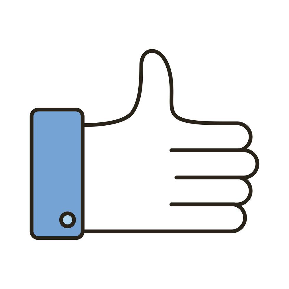médias sociaux comme la ligne de main et le style de remplissage vecteur