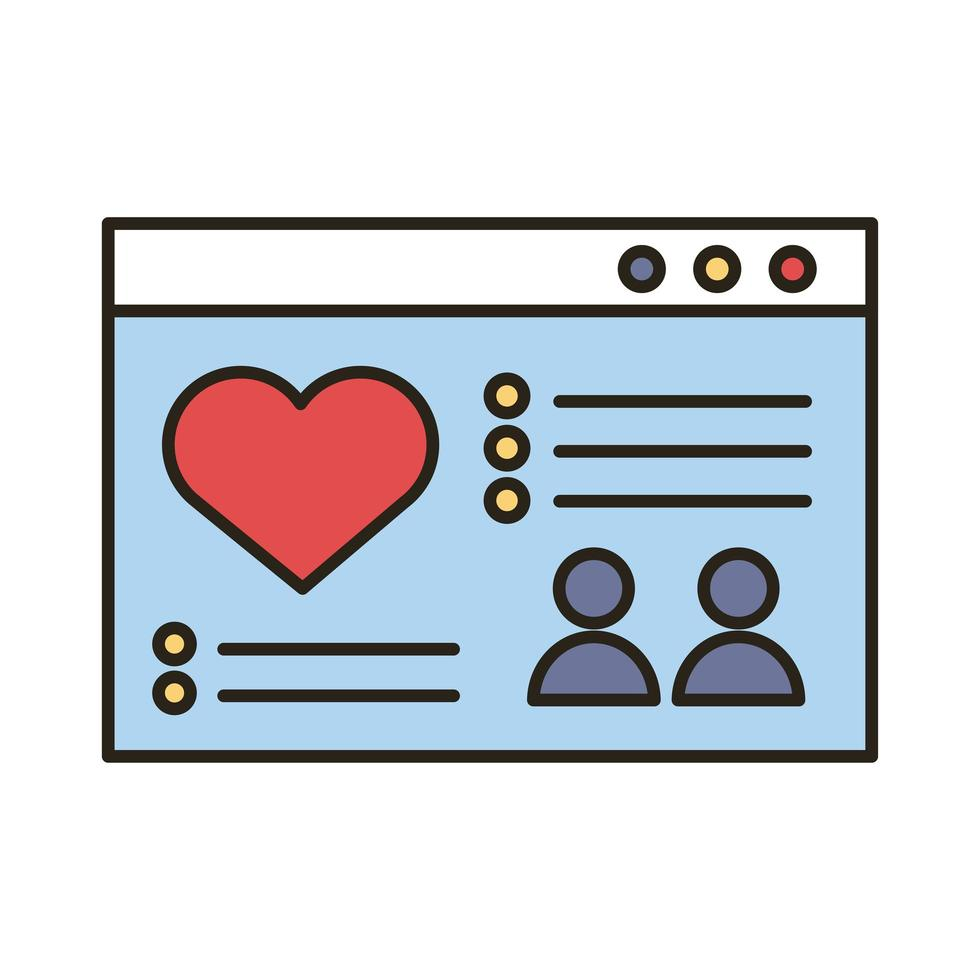 modèle de page Web avec ligne de coeur et icône de style de remplissage vecteur