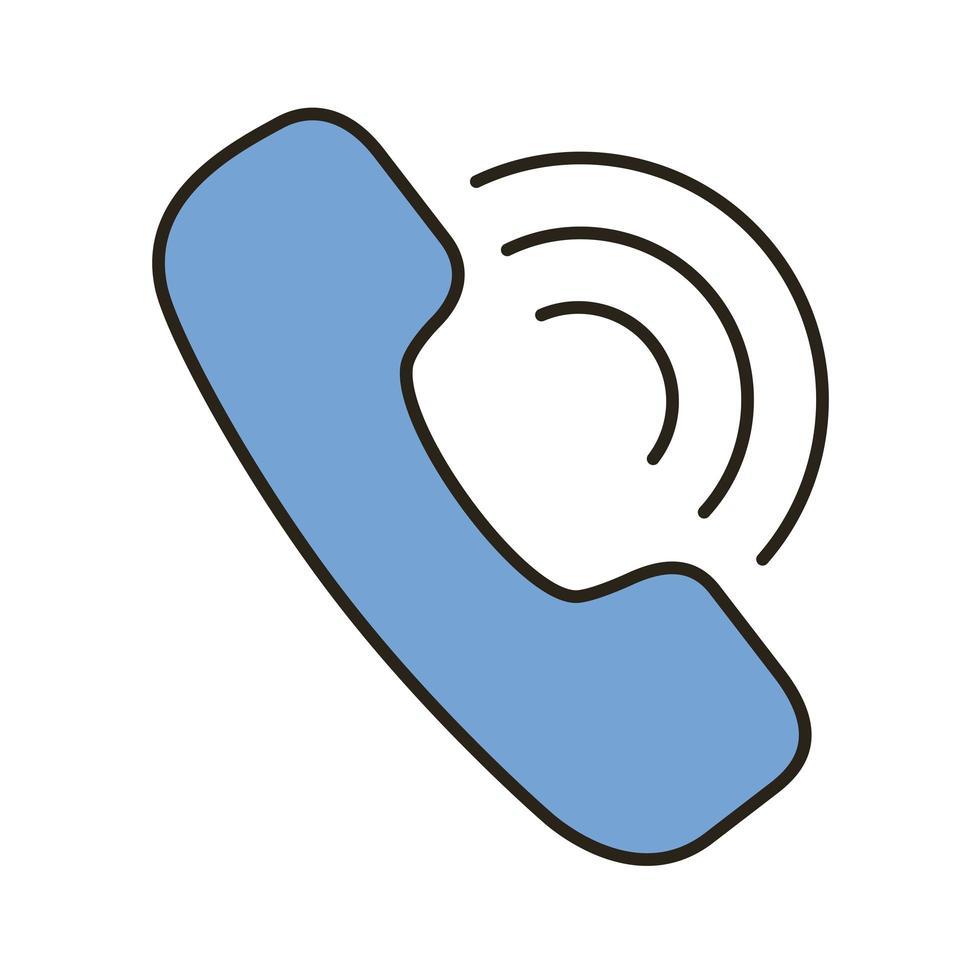 ligne de service téléphonique et icône de style de remplissage vecteur