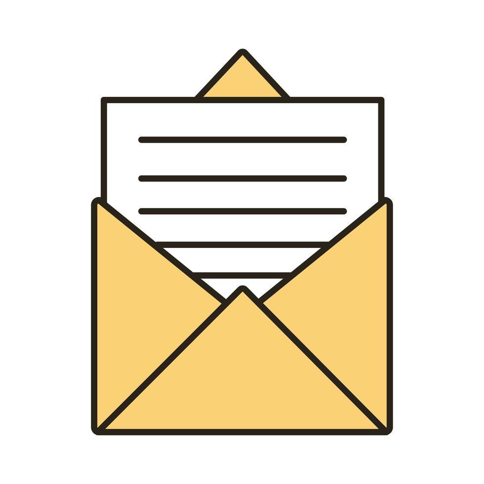 ligne de courrier enveloppe et icône de style de remplissage vecteur