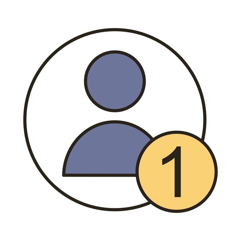 avatar de profil avec ligne numéro un et icône de style de remplissage vecteur