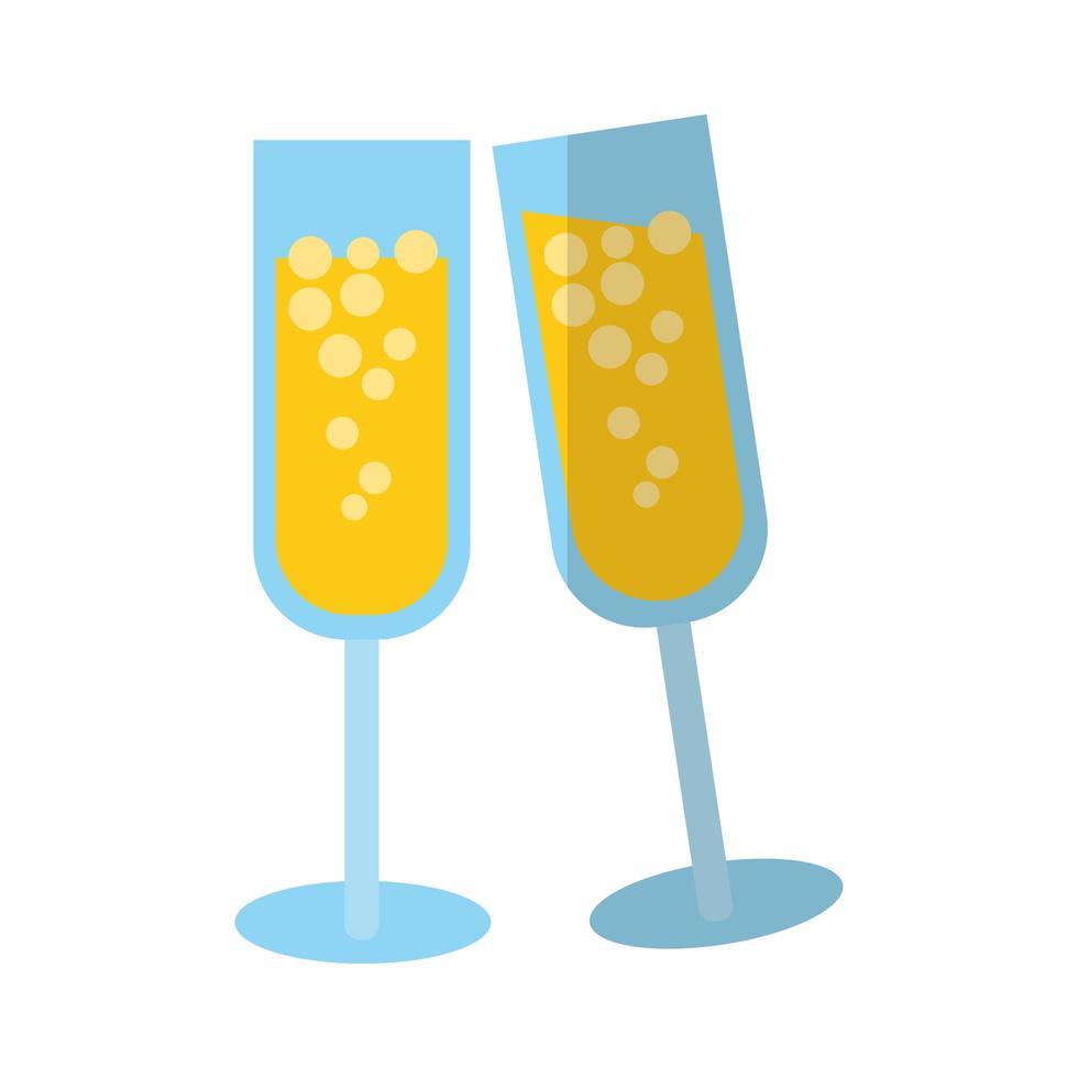 icône de style plat joyeux noël champagne vecteur