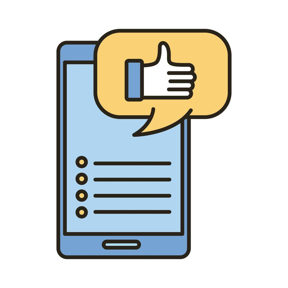 médias sociaux comme la main dans la bulle et la ligne de smartphone et le style de remplissage vecteur