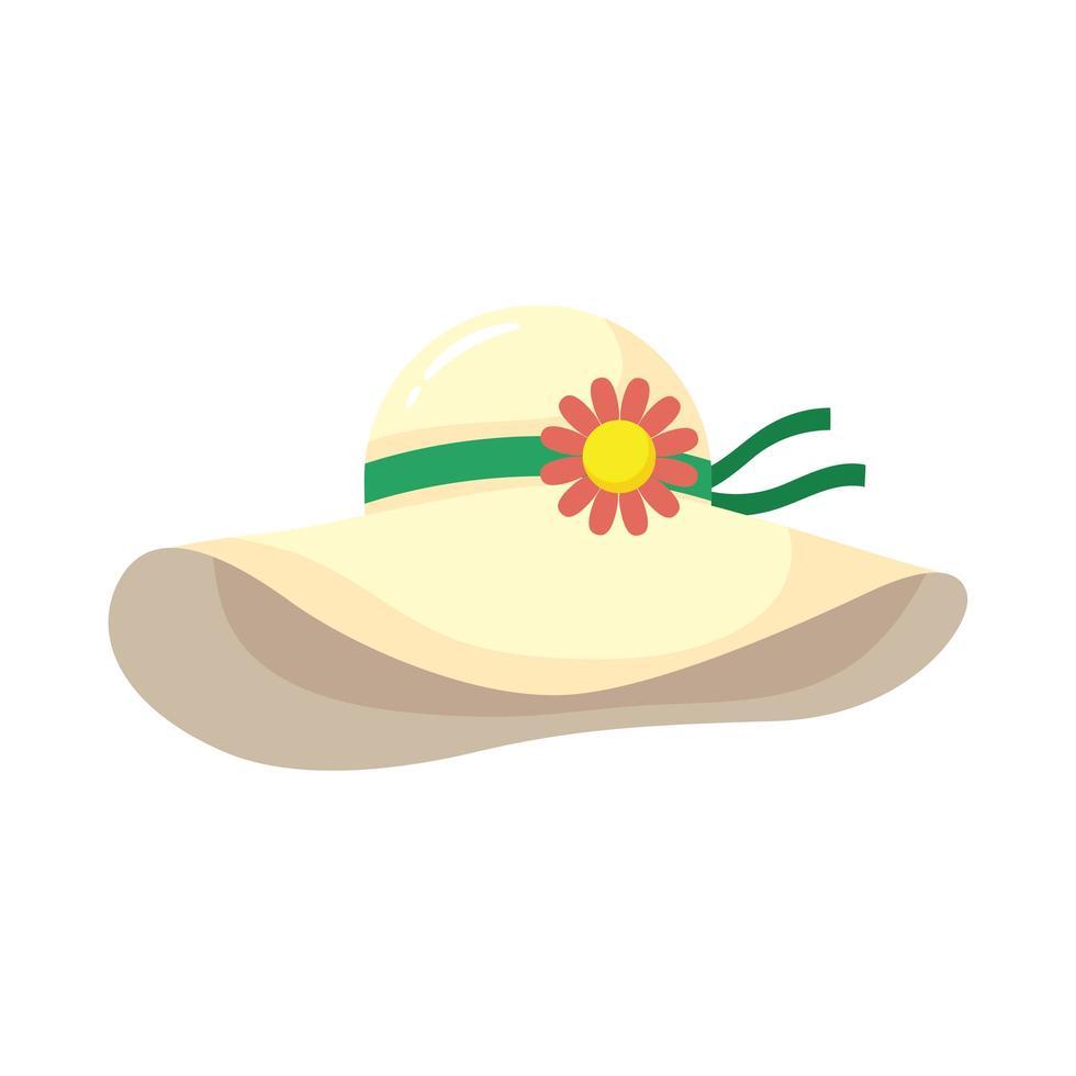 icône de style plat accessoire chapeau d'été vecteur