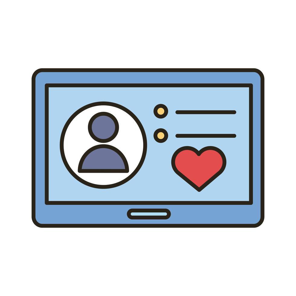 avatar de profil avec coeur en ligne de tablette et icône de style de remplissage vecteur
