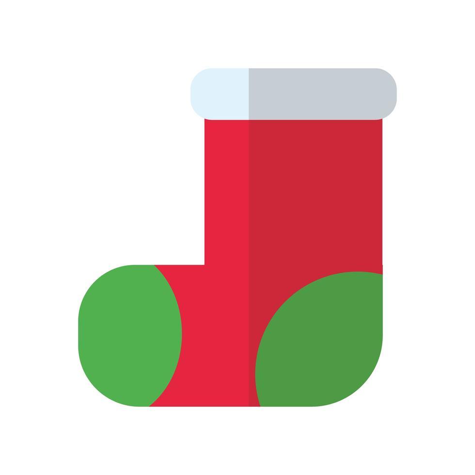 icône de style plat joyeux noël chaussette vecteur