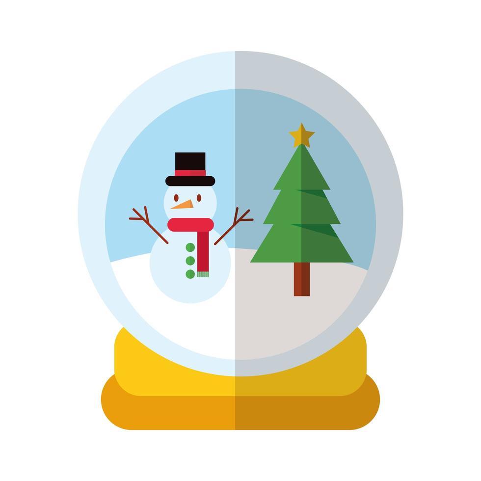 joyeux noël bonhomme de neige en icône de style plat boule hiver vecteur