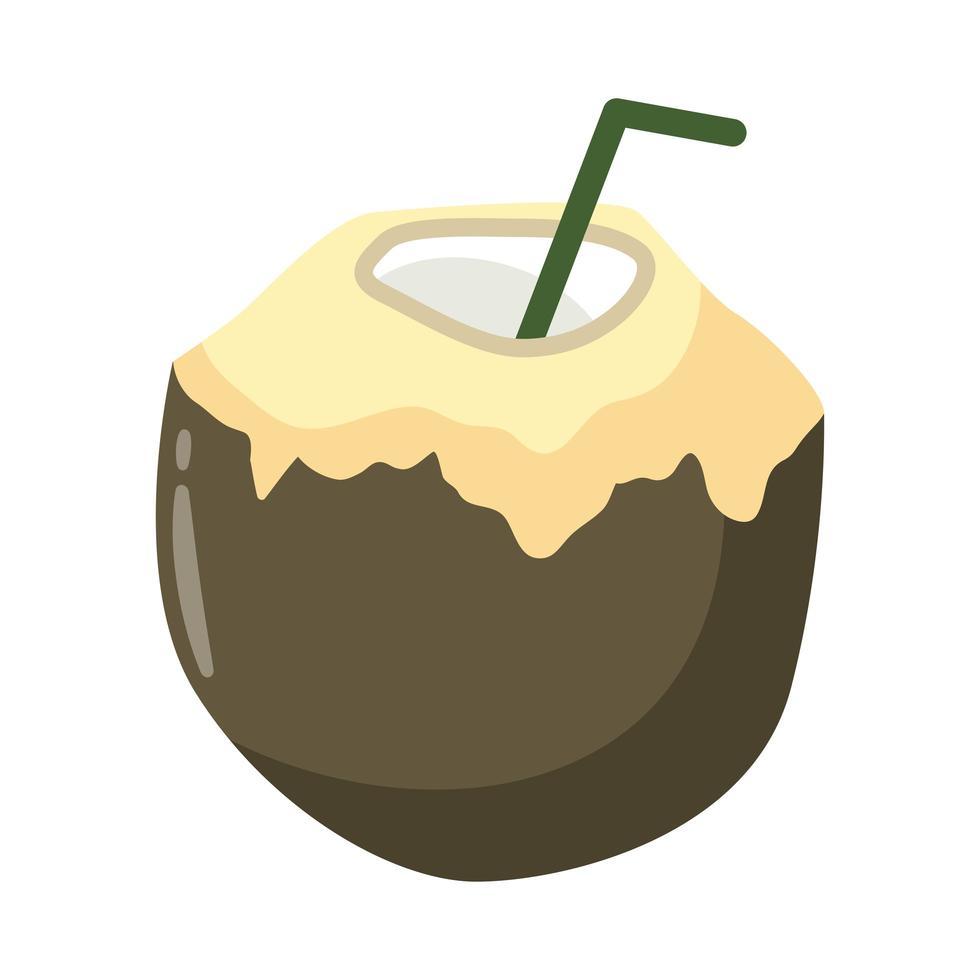 icône de style plat cocktail coco tropical vecteur
