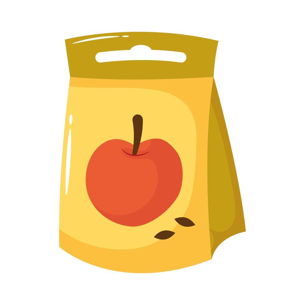 icône de style plat sac de graines de pomme vecteur