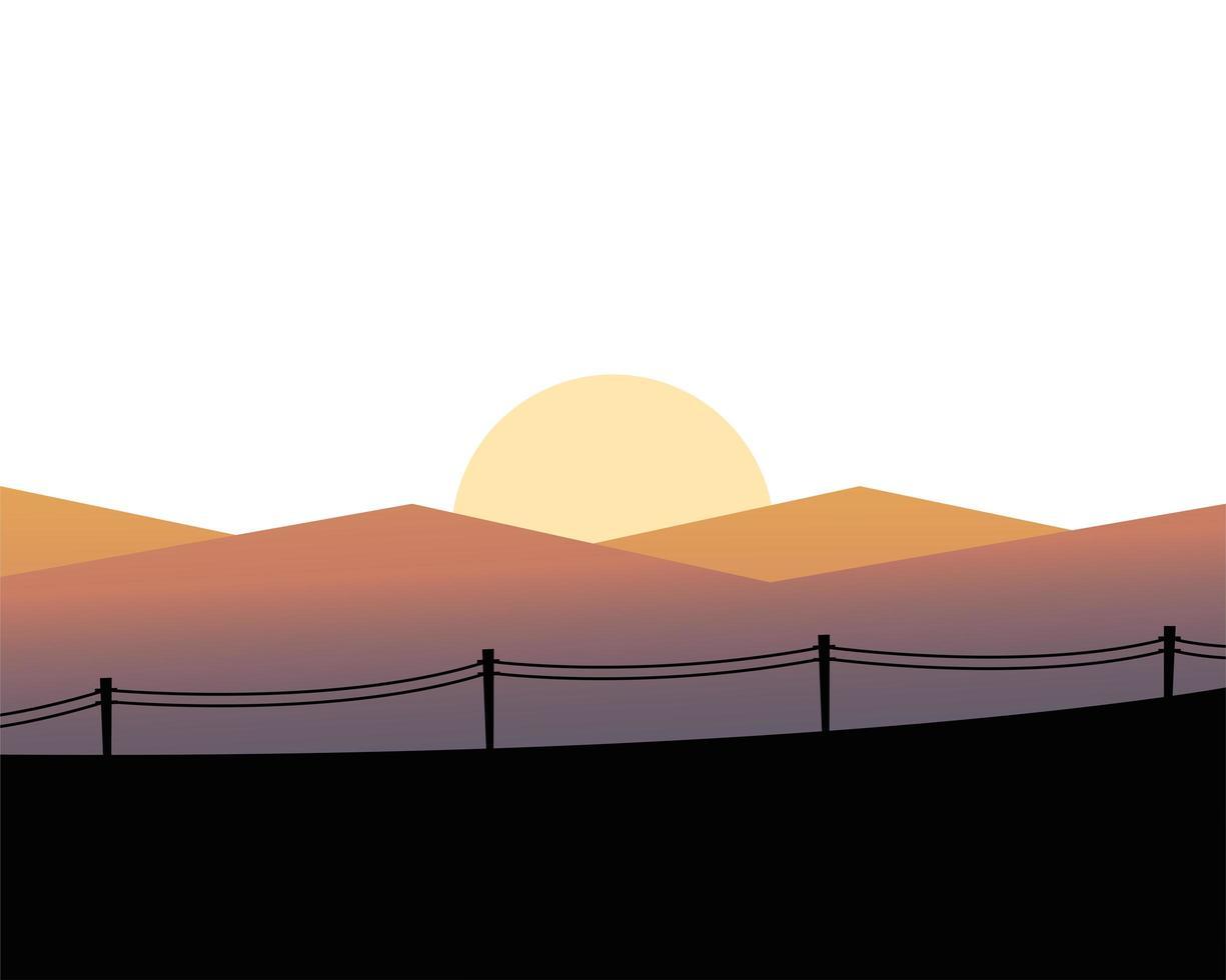 soleil sur les montagnes avec la conception de vecteur de paysage de clôture