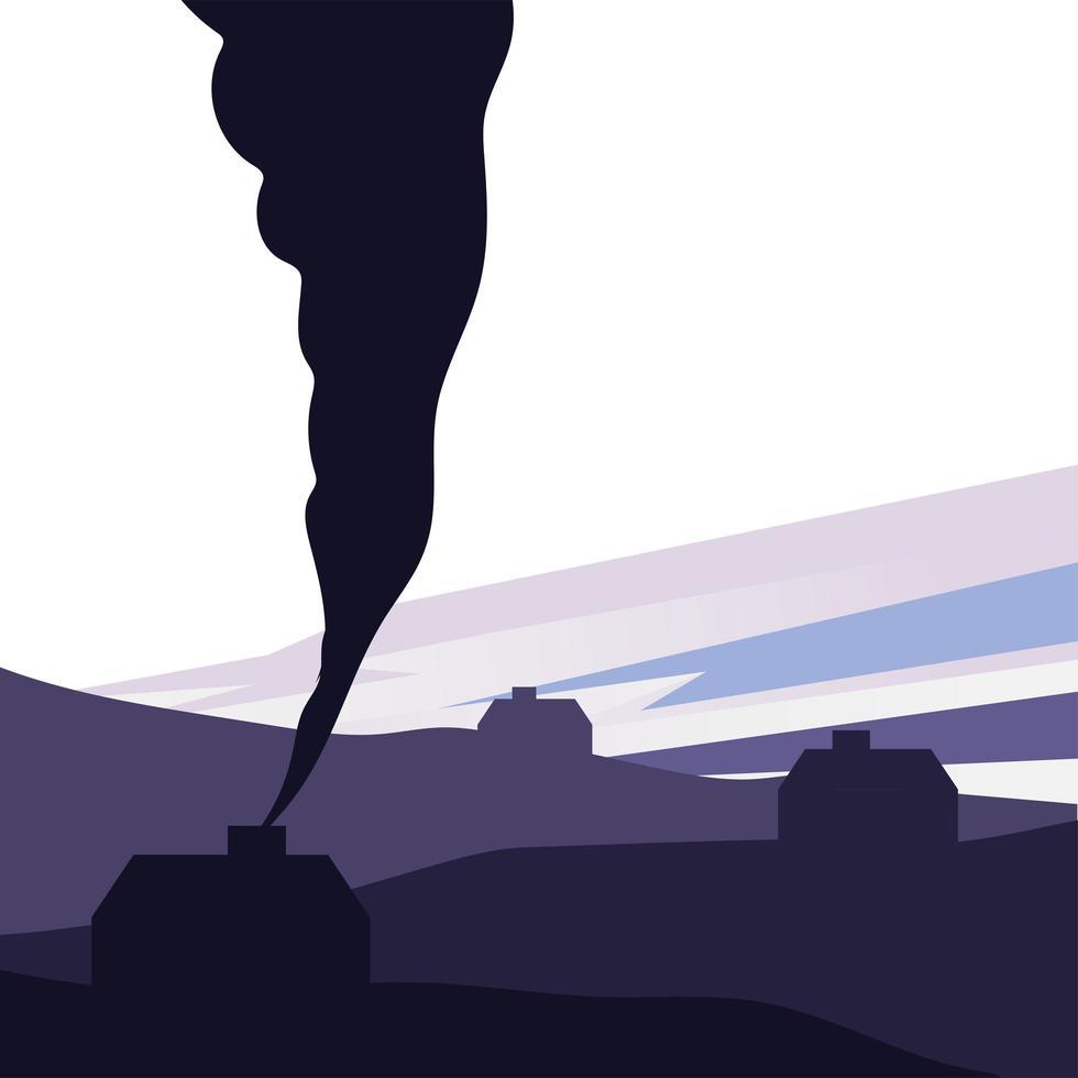 maison isolée avec silhouette de fumée sur la conception de vecteur de montagne
