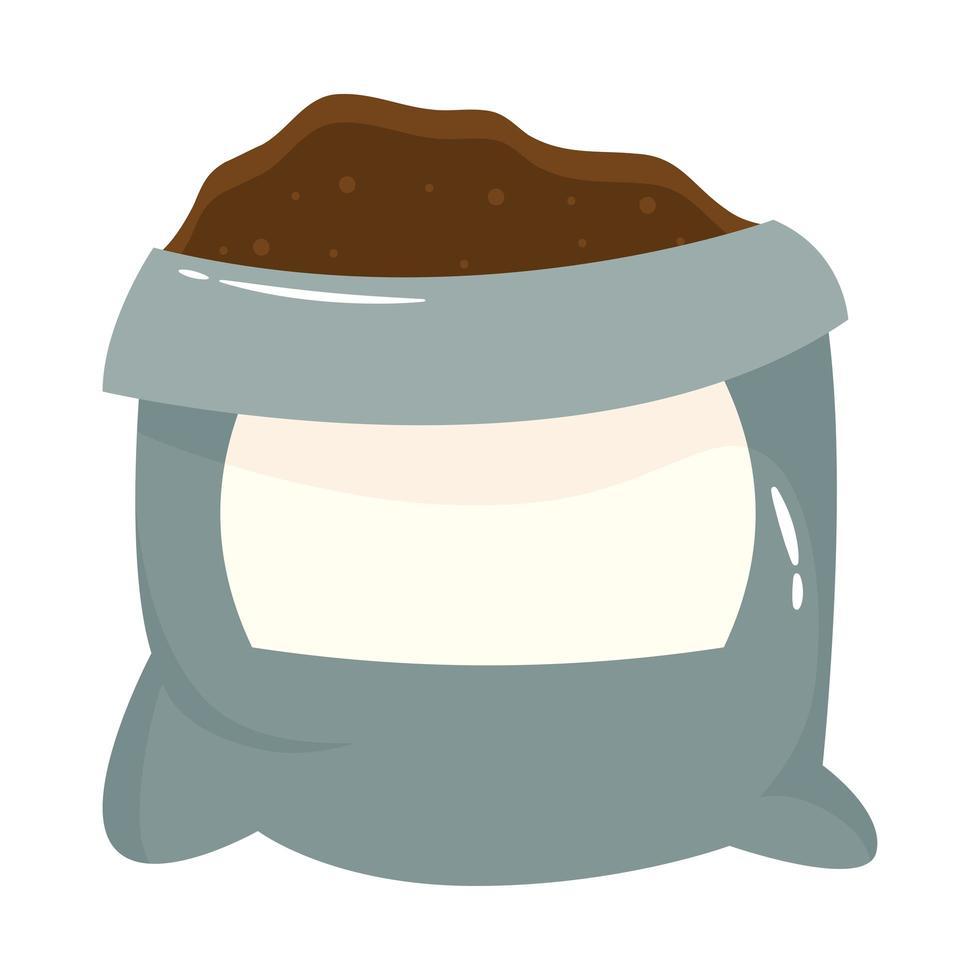 icône de style plat jardinage sac d'engrais vecteur