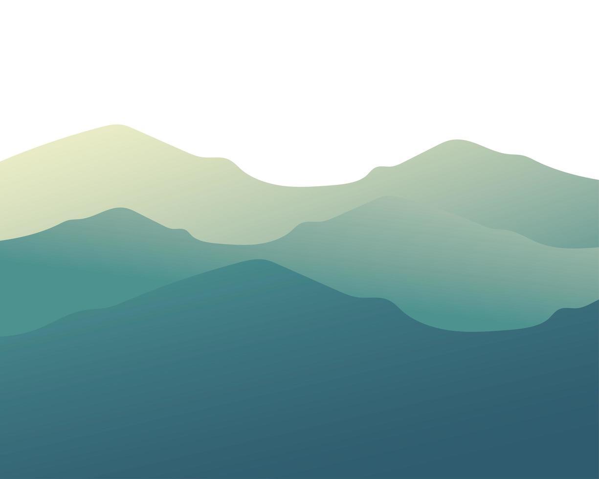 conception de vecteur de paysage de montagnes bleues