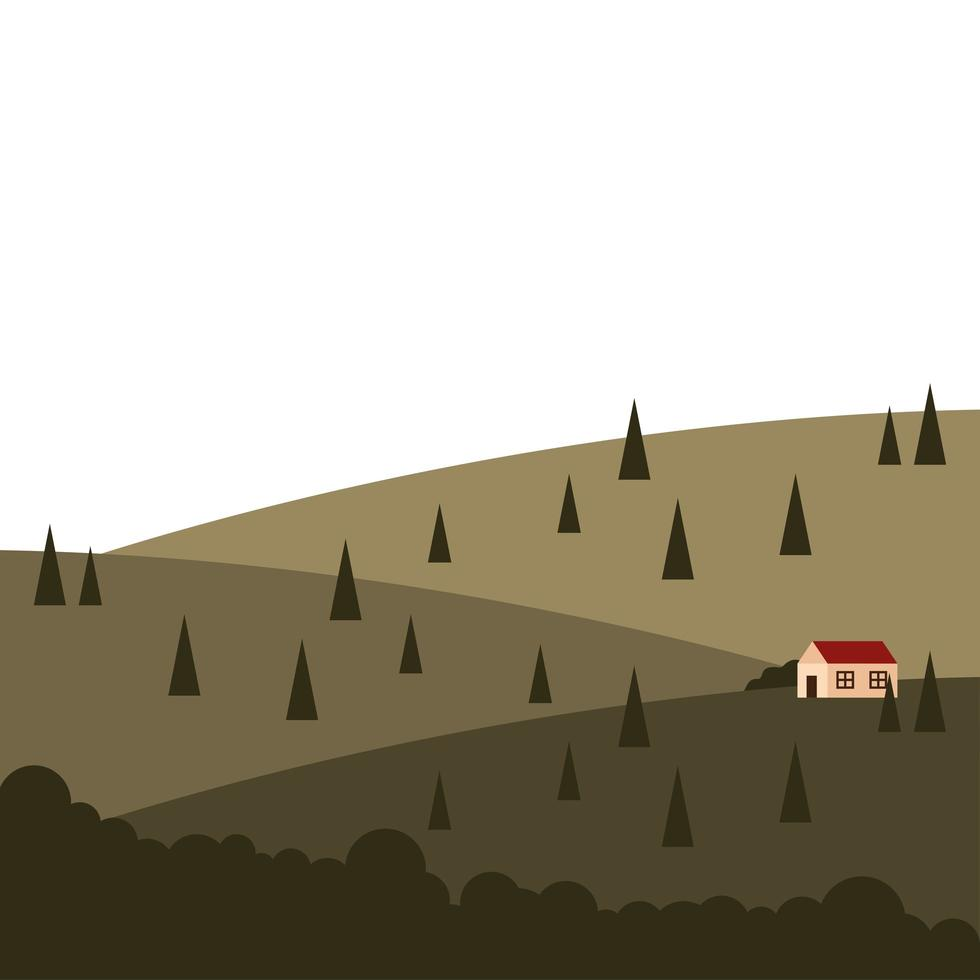 maison sur la montagne avec la conception de vecteur de paysage de pins