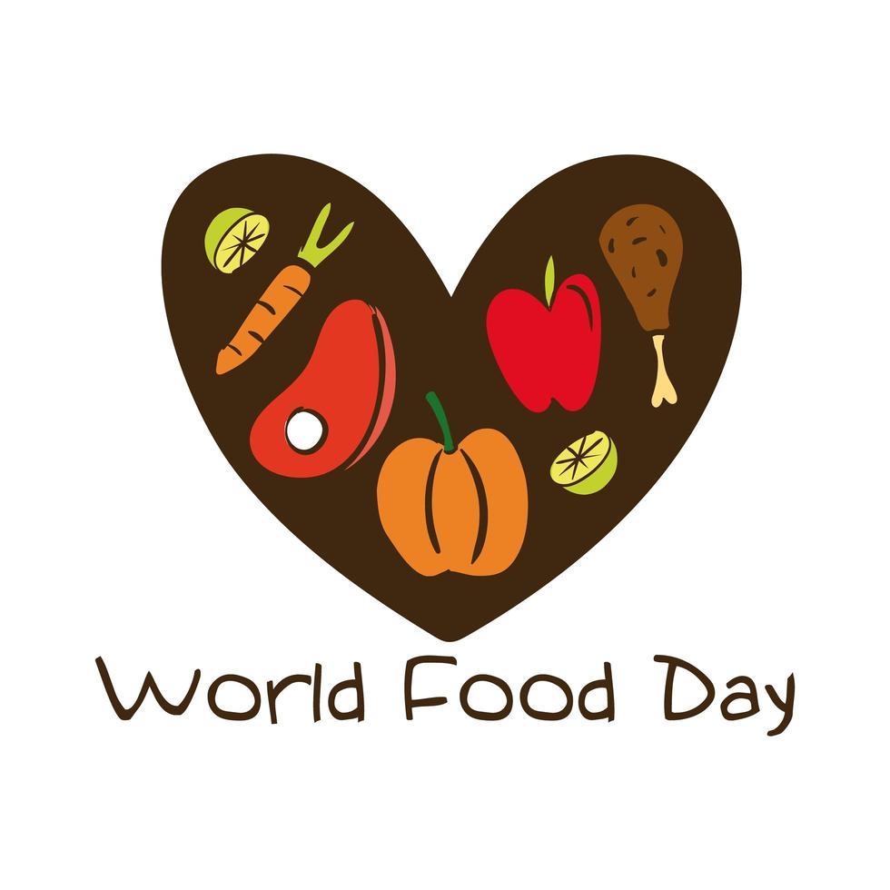 lettrage de célébration de la journée mondiale de la nourriture avec des aliments sains dans un style plat de coeur vecteur