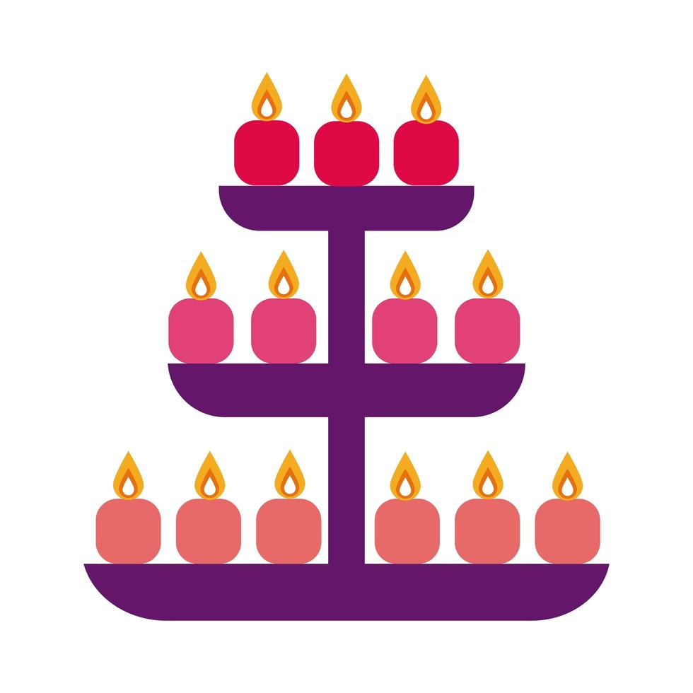 bougies diwali dans l'icône de style plat de rayonnage vecteur