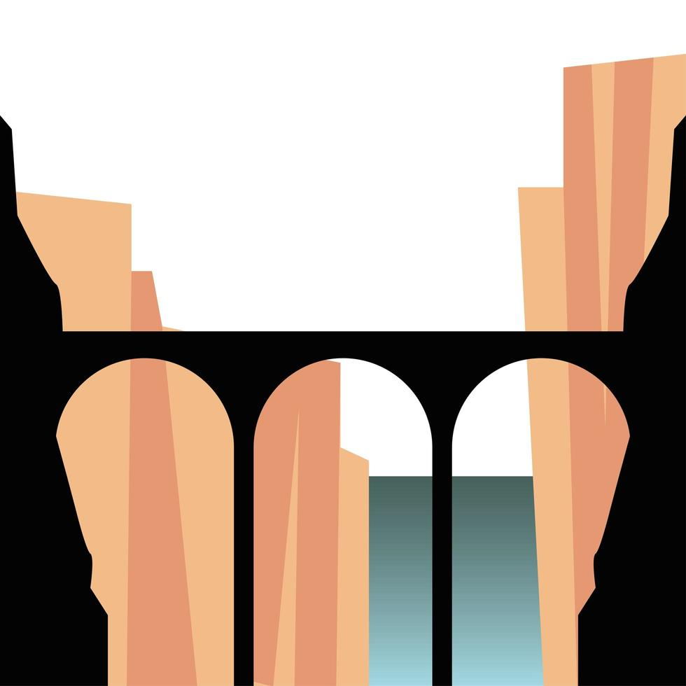 silhouette de pont en face de la conception de vecteur de paysage de montagnes