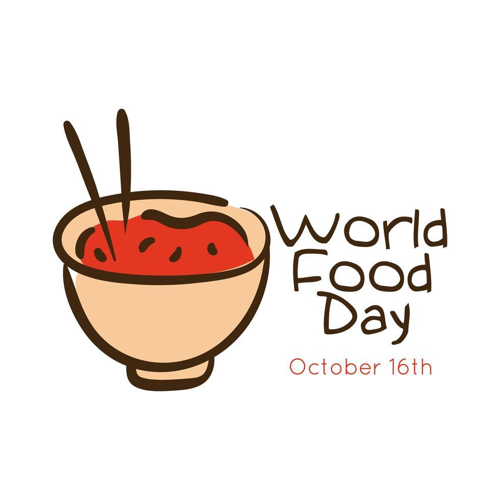 lettrage de célébration de la journée mondiale de la nourriture avec plat de riz vecteur