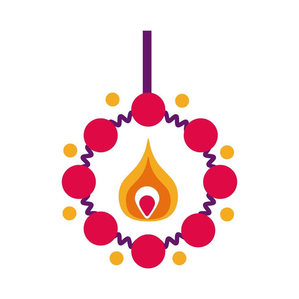 bougie diwali avec icône de style plat collier vecteur