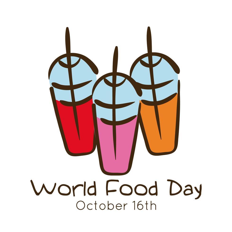 lettrage de célébration de la journée mondiale de la nourriture avec style plat milkshakes vecteur