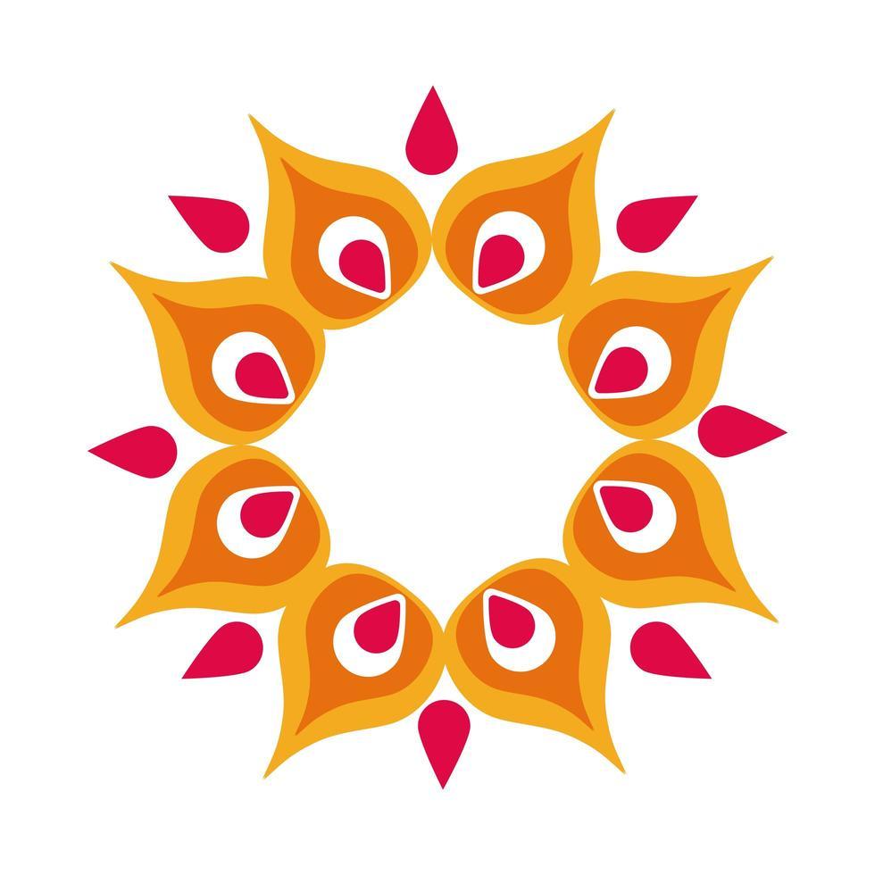 icône de style plat décoration pétales de fleurs de diwali vecteur