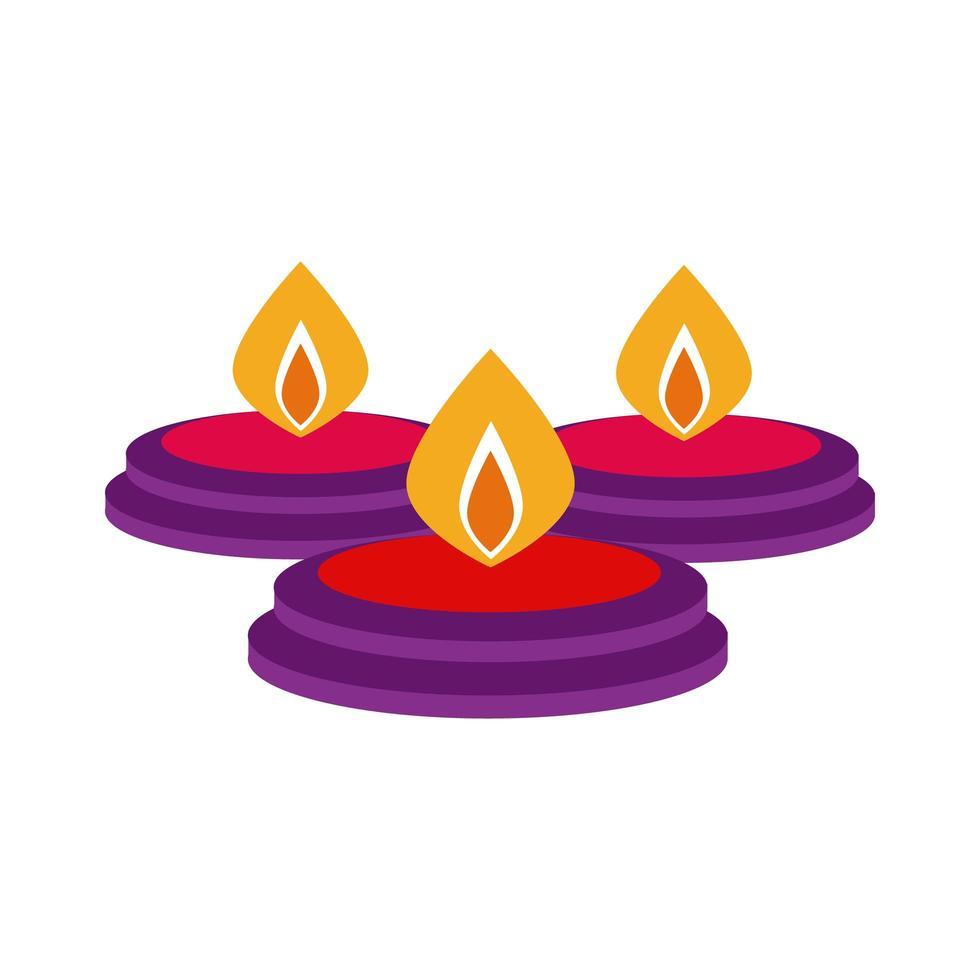 bougies diwali dans l'icône de style plat chaudrons vecteur
