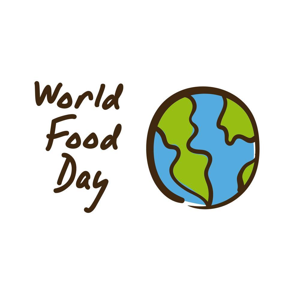 lettrage de célébration de la journée mondiale de la nourriture avec style plat planète terre vecteur
